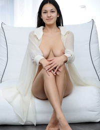 """Sofi A beautiful in white showing off her dark hairy pussy and very dark full labia"""
